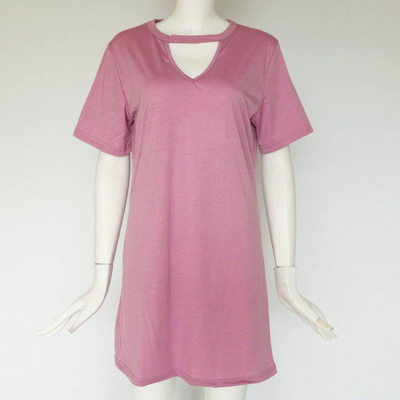 Outfit Sexy Deep V Short Sleeve T-Shirt Loose Casual Dress