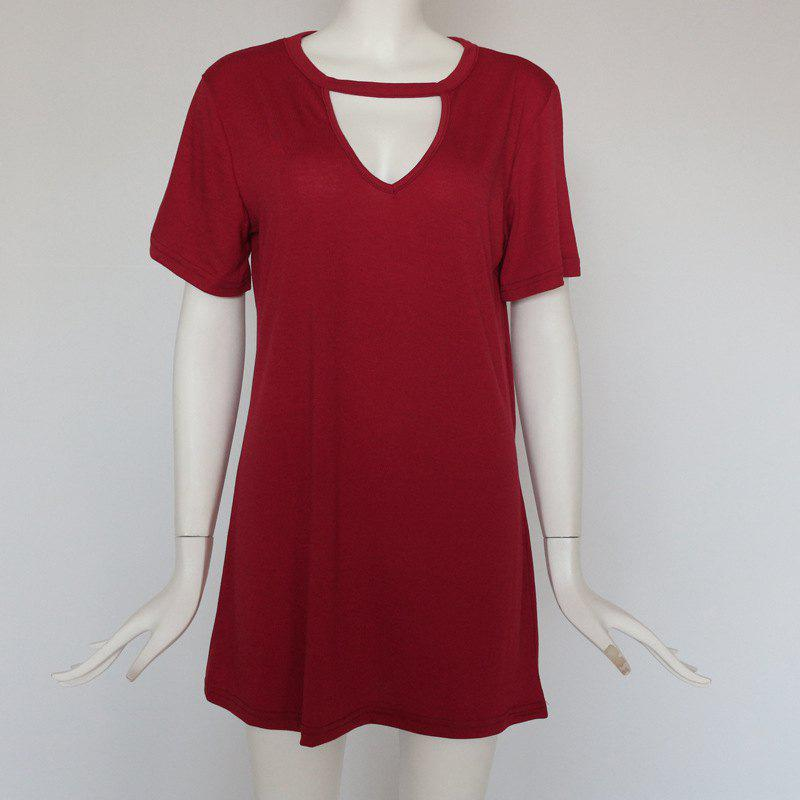 Unique Sexy Deep V Short Sleeve T-Shirt Loose Casual Dress