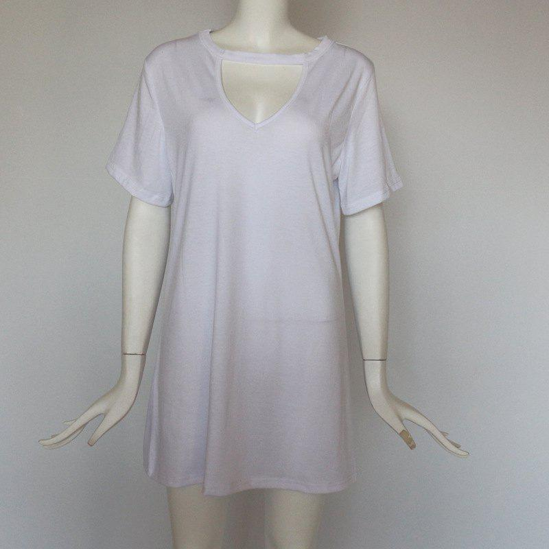 Buy Sexy Deep V Short Sleeve T-Shirt Loose Casual Dress