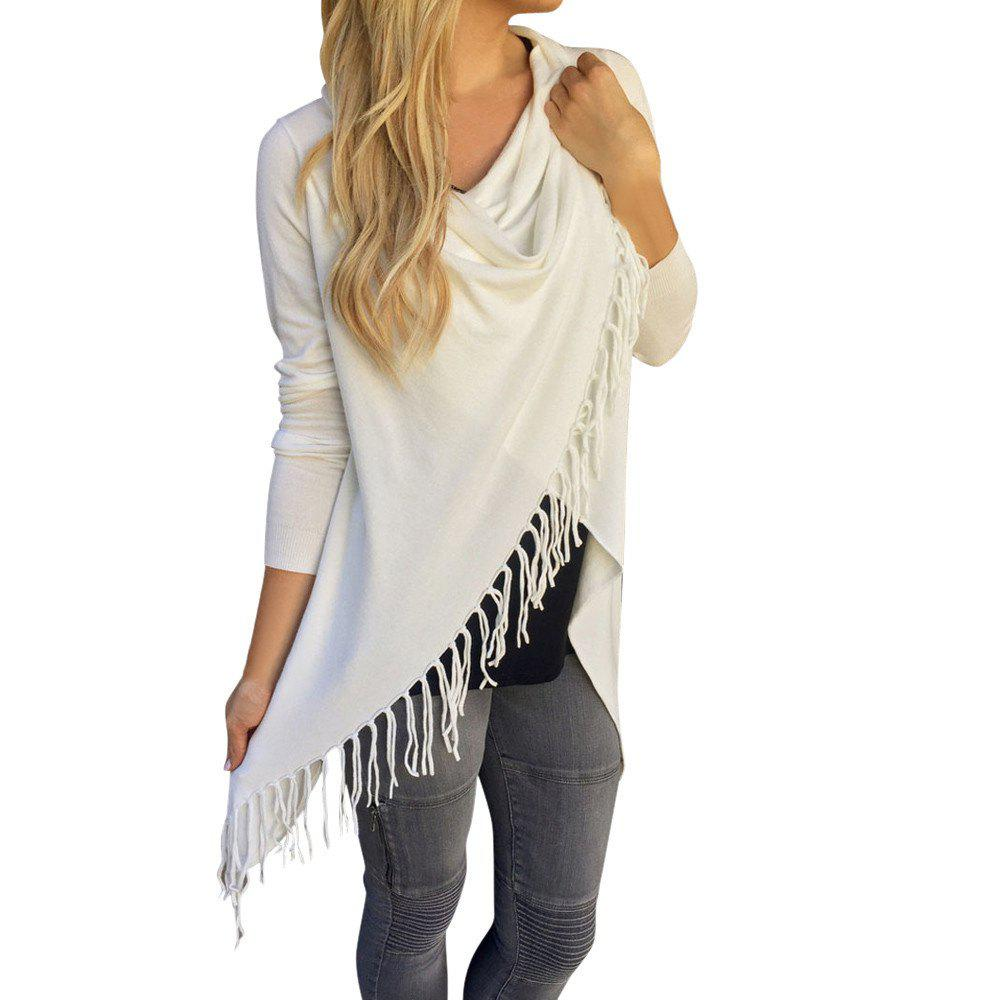 Affordable 2018 Long Tassel Sweater Slim Coat Knitted Cardigan Classic Wrap Fringe
