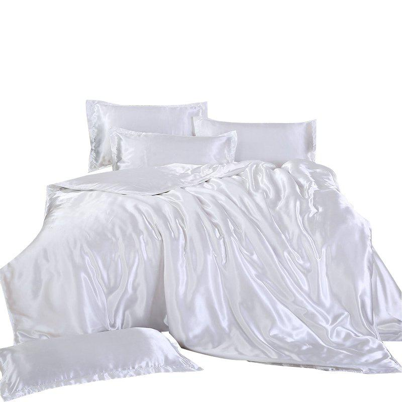 Affordable CB Simple Solid Color Ice Silk Bed Sheet 3PCS