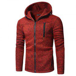 Men'S Fashion Zipper Solid Color Long-Sleeved Hooded Casual Knit Cardigan -
