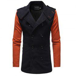 2018 New Men'S Fashion Stitching Double-Breasted Double-Sided Slim Trench Coat -