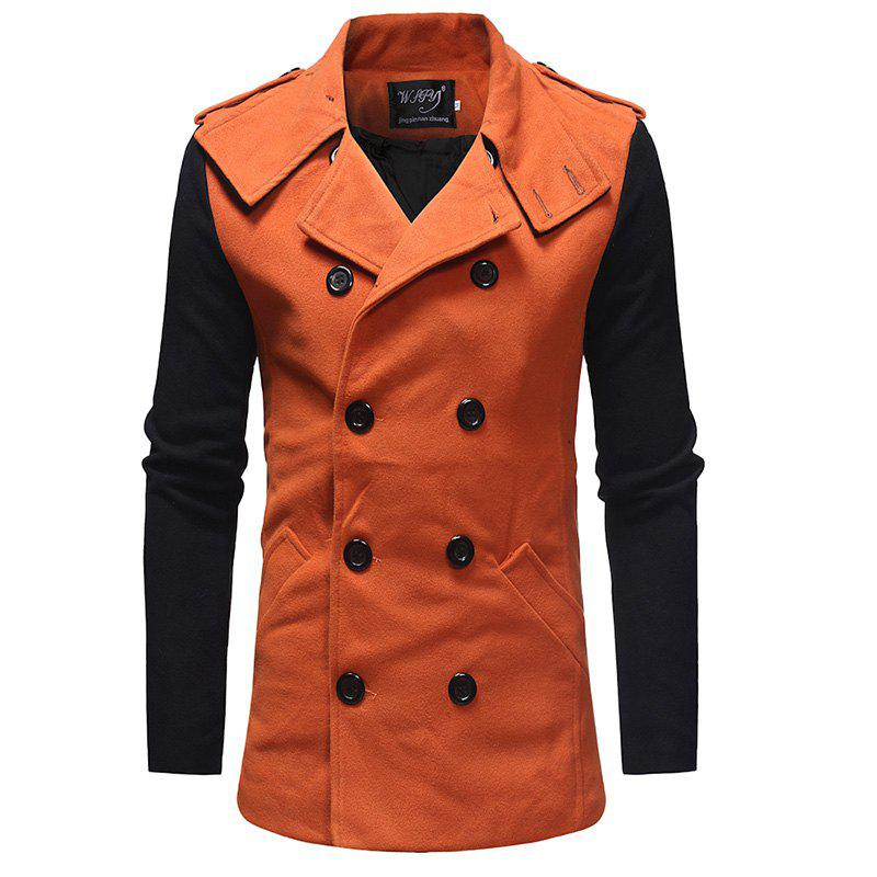Online 2018 New Men'S Fashion Stitching Double-Breasted Double-Sided Slim Trench Coat