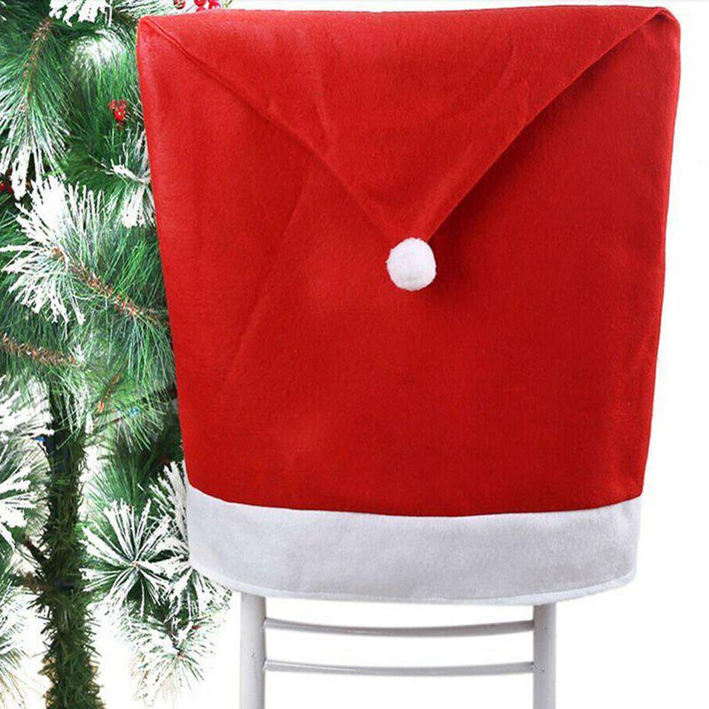 1c839615b81c1 Outfit Removable Santa Red Hat Chair Covers Christmas Decorations Dinner  Chair Xmas Cap