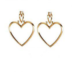 European Style Fashion Simple Hollow Double Heart Earrings -