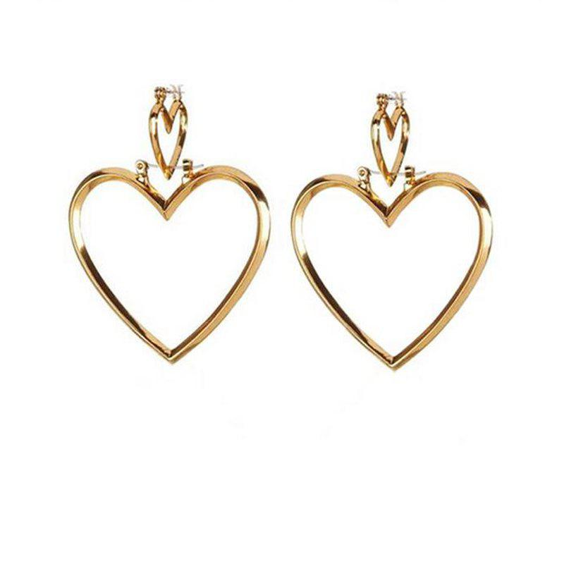 Trendy European Style Fashion Simple Hollow Double Heart Earrings