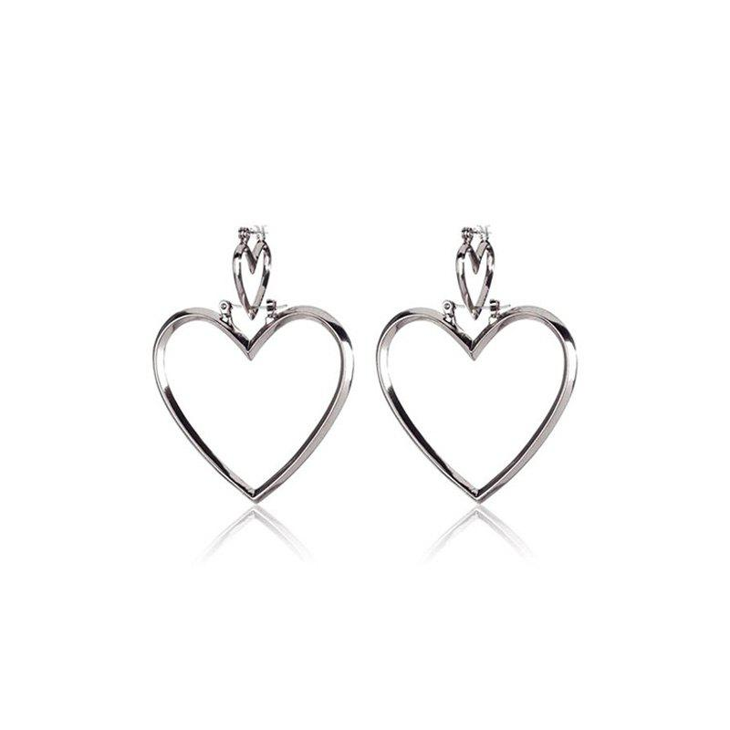 Fashion European Style Fashion Simple Hollow Double Heart Earrings