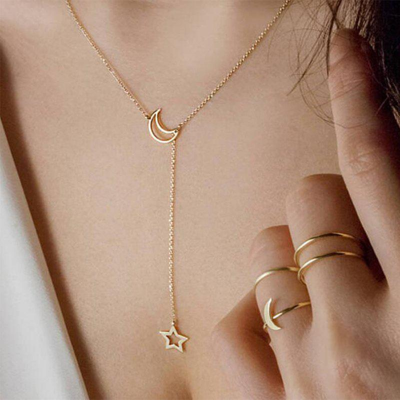 Latest European Style Fashion Simple Moon Star Clavicle Chain Short Necklace
