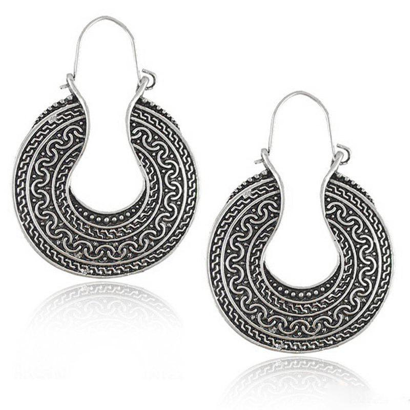 Hot European Style Fashion Bohemian Vintage Round Exaggerated Earrings