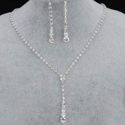 European Style Simple Rhinestone Necklace Earrings Set Bridal Accessories -