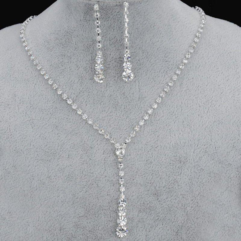 Trendy European Style Simple Rhinestone Necklace Earrings Set Bridal Accessories