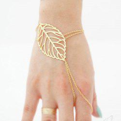 European Style Fashion Simple Leaf Bracelet with Ring -