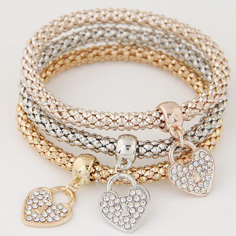 Fancy European Style Simple Rhinestone Heart Lock Multi-Layer Bracelets