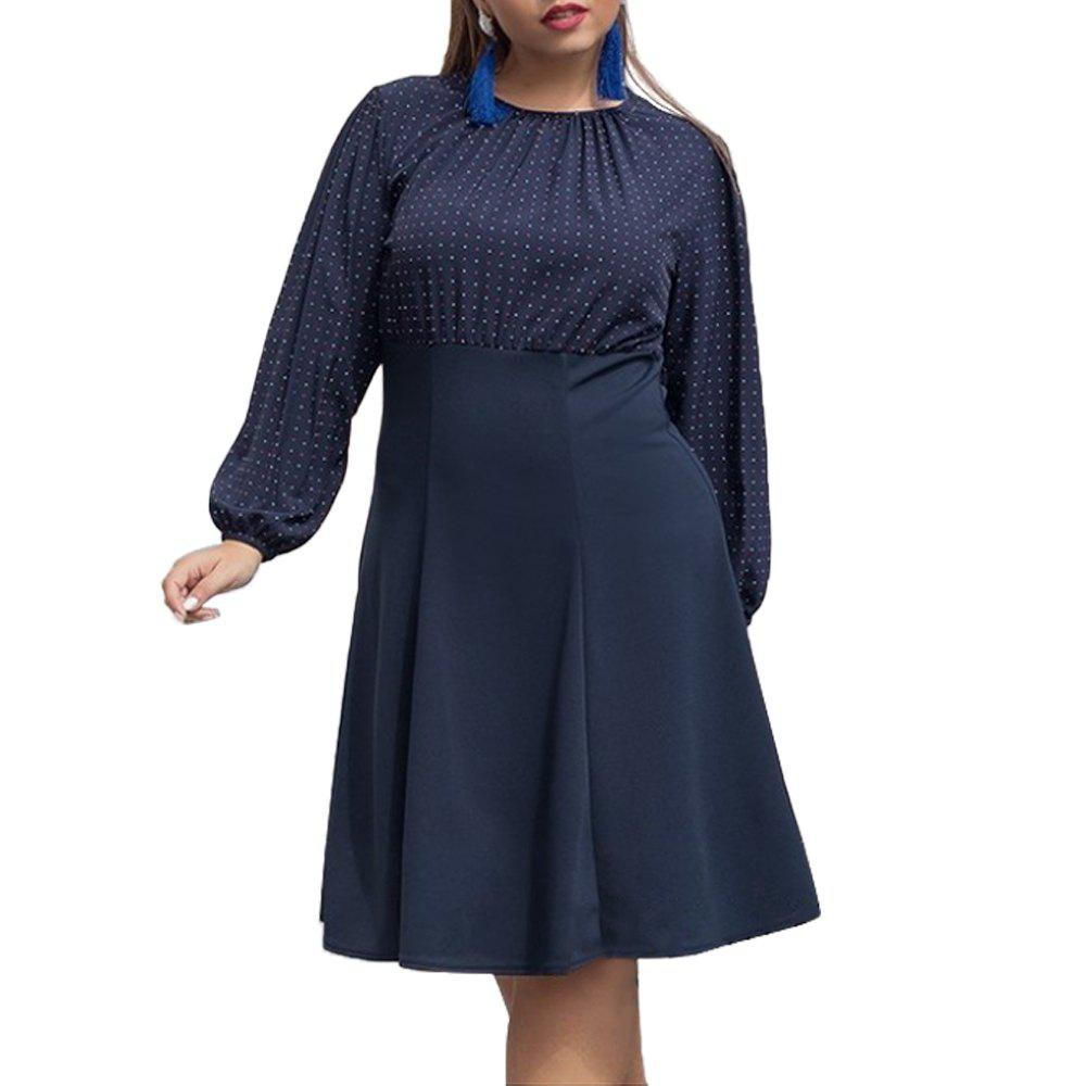 24fd662a02 New 5XL 6XL 2018 Autumn Big Size Women Dress Polka Dot Ladies Office Plus  Size Dress