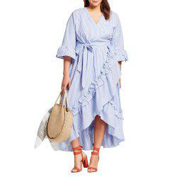 Dress Women long Striped Dresses Plus Size Loose Casual V-Neck High Waist Dress -