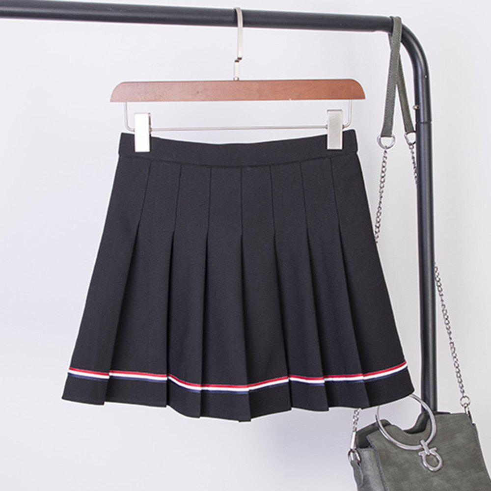 Sale College Style Elastic High Waist Skirt Ruffled Striped dance Skirt