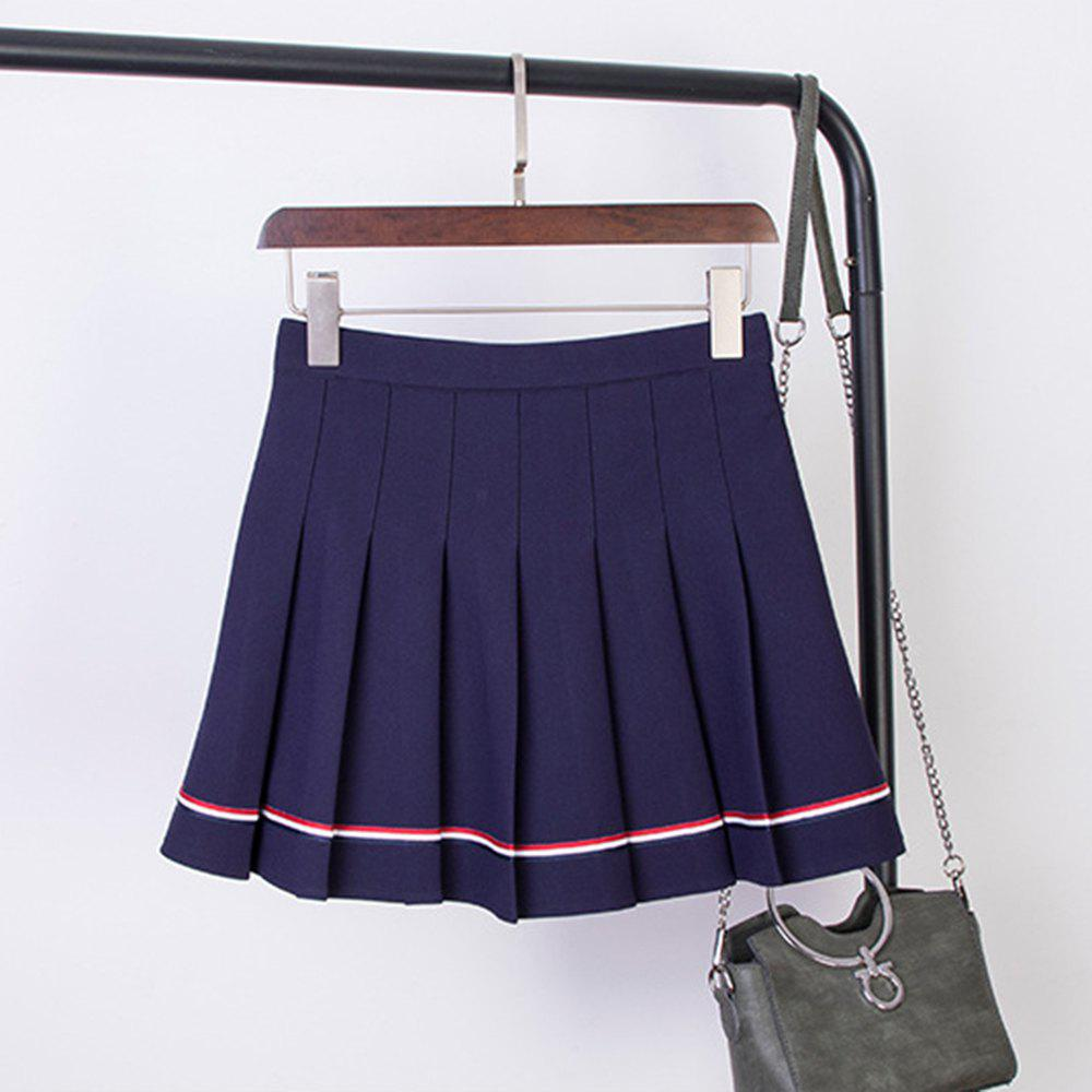 Unique College Style Elastic High Waist Skirt Ruffled Striped dance Skirt