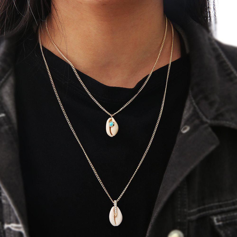 Boho Fashion Crystal Shell Pendant Multilayer Necklace for Women Pendant