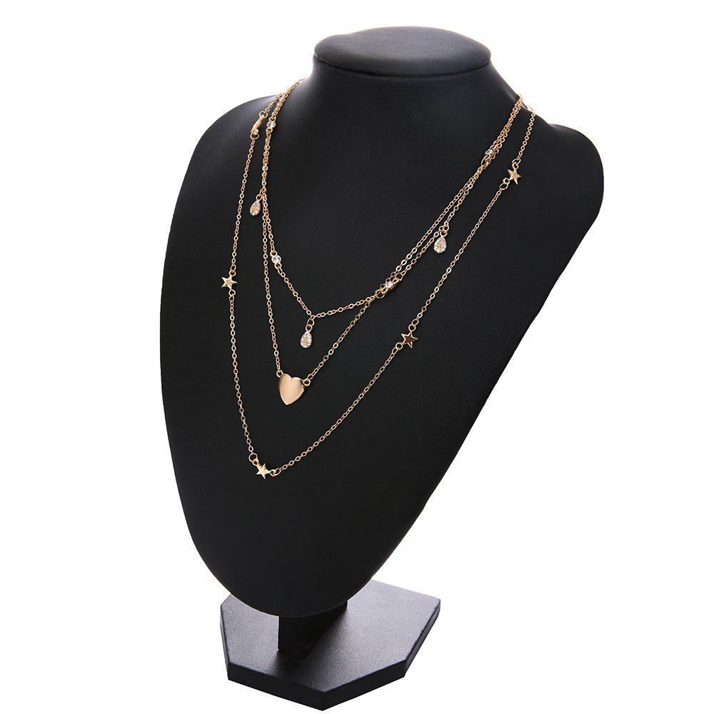 Vintage Multilayer Crystal Heart Pendant Necklace for Women Gold Color Chain