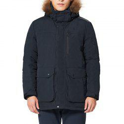 HUMTTO Men Outdoor Long Duck Down Hooded Thick Warm Waterproof Down Jacket -