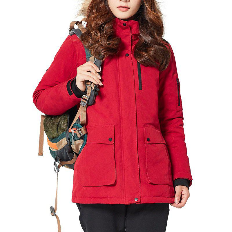 Buy HUMTTO Women Outdoor Long Duck Down Hooded Thick Warm Waterproof Down Jacket