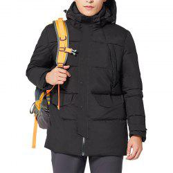 HUMTTO Down Jacket Men's Fashion Long Hooded Padded Down Jacket -