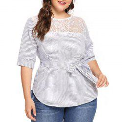 Stripe Splicing Lace Hollow Out Short Sleeve Blouse -
