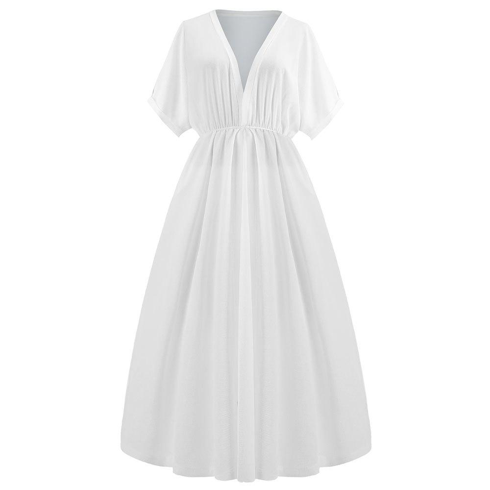Discount Deep V Collect Waist Long White Dress