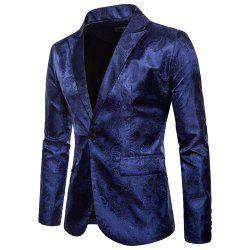 Print Dark Grain One Button Men's Blazer -