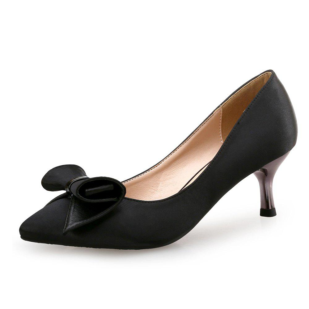 Shops Pointed Bow Stiletto Satin Shallow Mouth Women'S Shoes