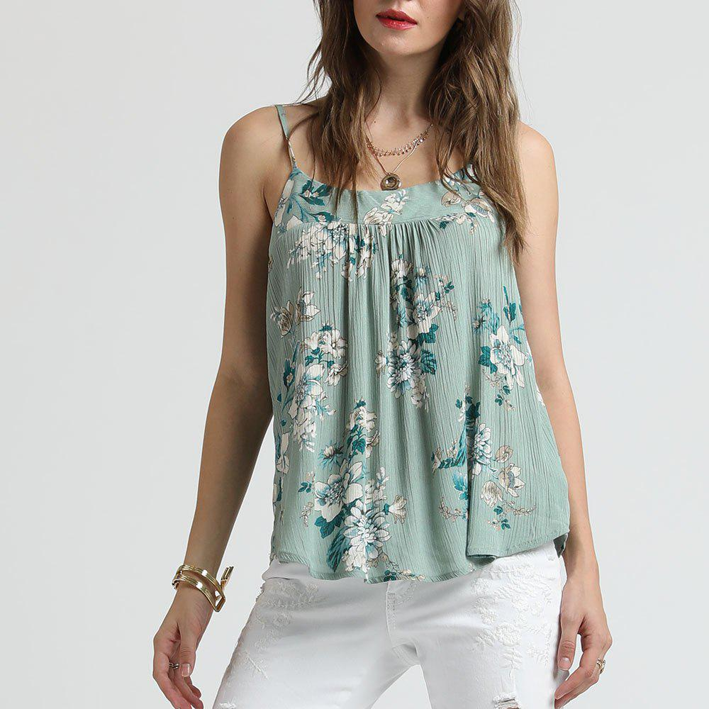 Buy SBETRO Floral Print Pleated Tank Top Female Chiffon