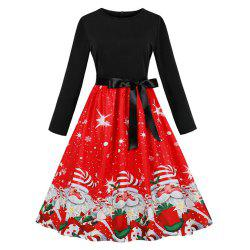 Printed Dress with Long Sleeves and Large Skirt -