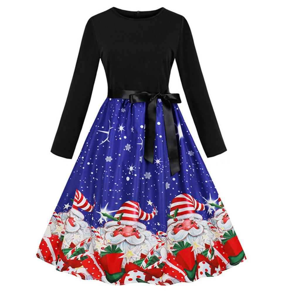 Chic Printed Dress with Long Sleeves and Large Skirt