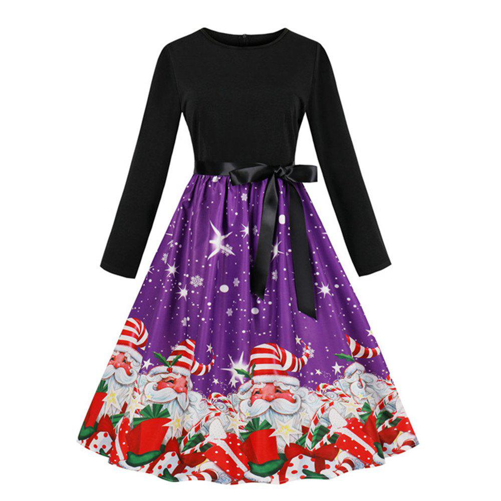 Affordable Printed Dress with Long Sleeves and Large Skirt