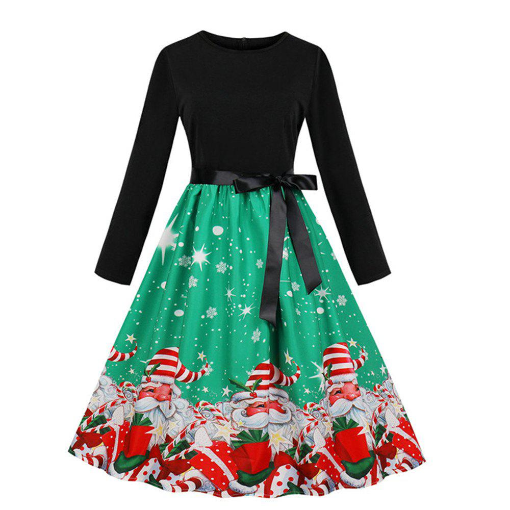 Outfit Printed Dress with Long Sleeves and Large Skirt