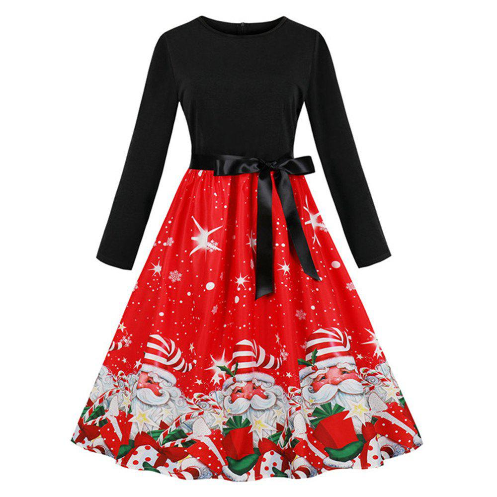 Outfits Printed Dress with Long Sleeves and Large Skirt