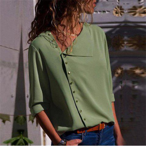Women Casual Solid Long Sleeve Modis Blouse Lapel Shirt Blouse