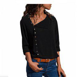 Women Casual Solid Long Sleeve Modis Blouse Lapel Shirt Blouse -