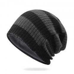 Striped knit hat + size code for 55-62CM head circumference -