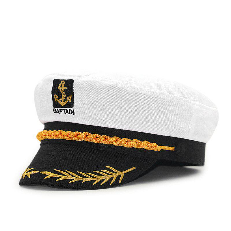 Affordable Wheat ear embroidery captain cap + size code for 56-57cm head circumference