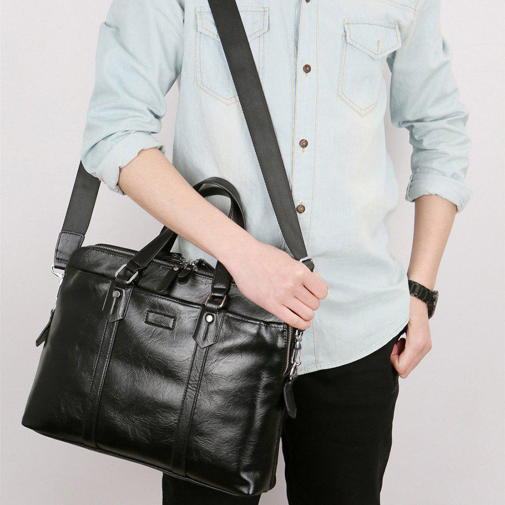 4bd598874a4f Outfit Solid PU Leather Man Laptop Handbag Double Pocket Business Briefcase  Bag