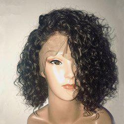 Short Loose Curly Human Hair Lace Front Wig for Women Bleached Knots -