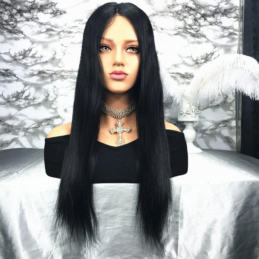 Unique Natural Black Long Straight Middle Part Human Hair Lace Front Wig