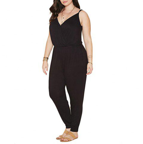 191ad0eee8e Summer Style Rompers Womens Jumpsuit Solid Plus Size Women Clothing 4XL 5XL  6XL - BLACK