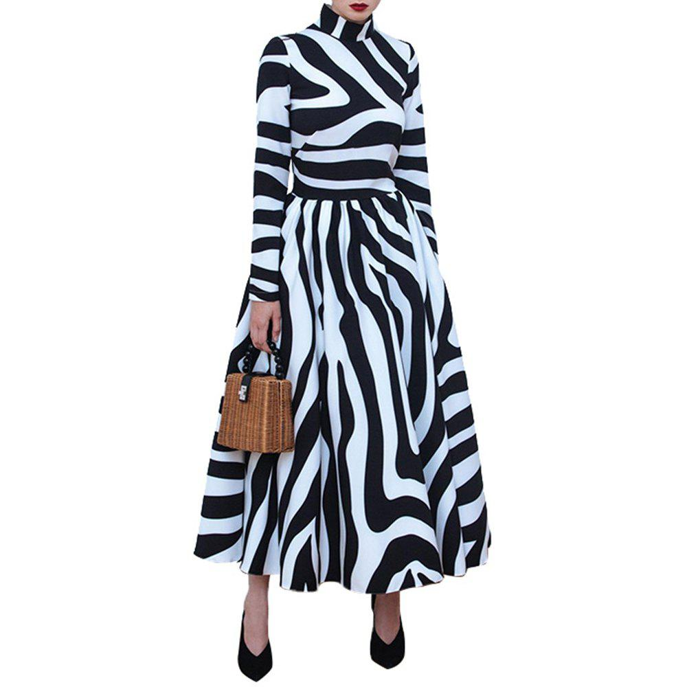 Online Long Dress Women Winter Striped Maxi Dresses Print Female Office