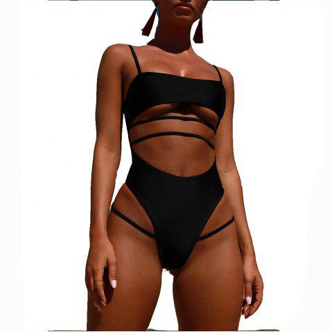 Womens Sexy Strappy Cut Out High Waist Monokini  Swimsuit