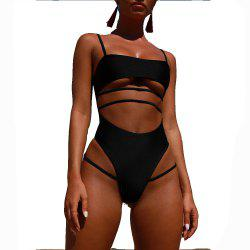 Womens Sexy Strappy Cut Out High Waist Monokini  Swimsuit -