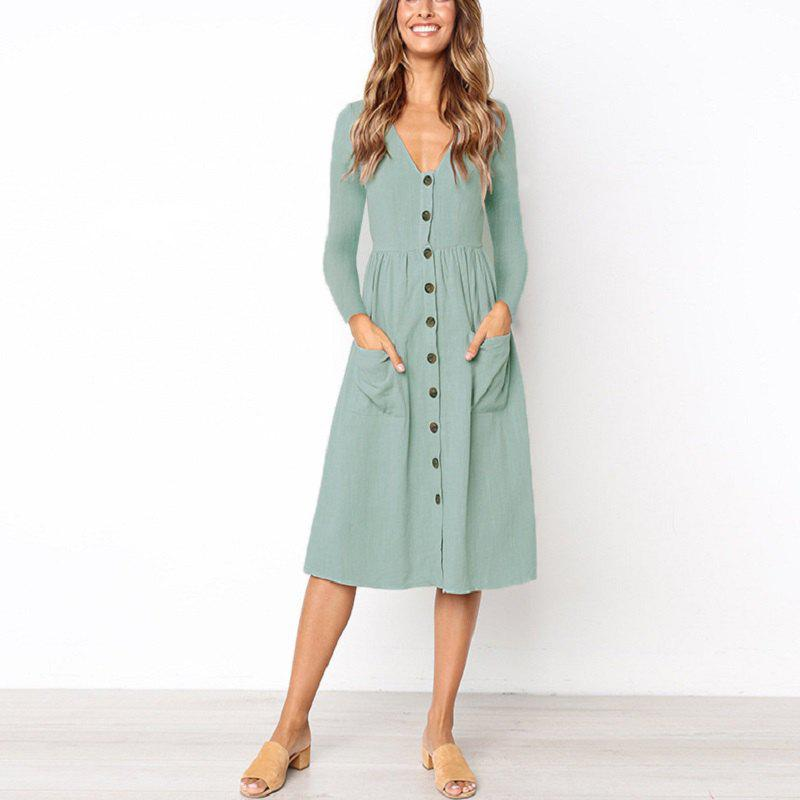 New Women'S Fashion V-Neck Button Versatile Pocket Long Sleeve Dress