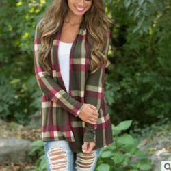 Autumn and Winter New Plaid Printing Stitching Long Sleeve Coat Cardigan Women'S -